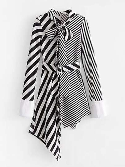 Self Tie Asymmetrical Stripe Splicing Dress