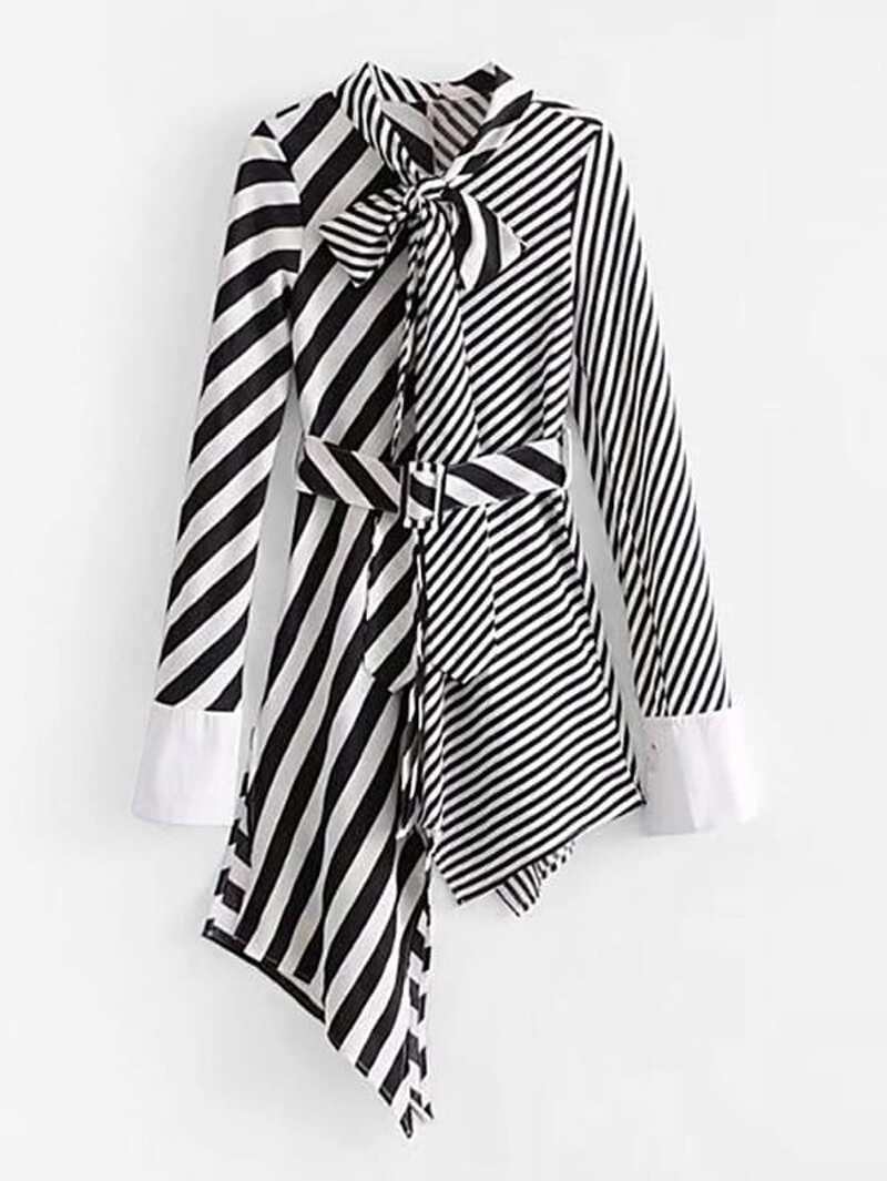 Self Tie Asymmetrical Stripe Splicing Dress, Black and white