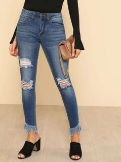 Distressed Raw Hem Jeans DENIM