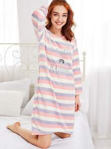 Slogan Embroidered Striped Plush Night Dress