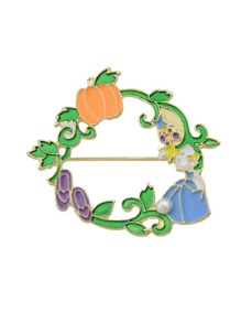 Enamel Orange Pumpkin And Girl Pattern Accessories For Women Brooches