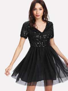 Sequin Bodice Mesh Overlay Dress