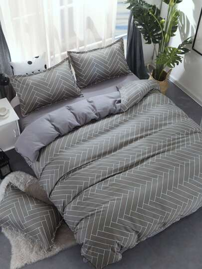2.2m 4Pcs Geometric Print Bed Sheet Set
