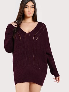 Knitted Oversized Sweater BURGUNDY