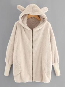 Ear Detail Faux Fleece Hooded Coat