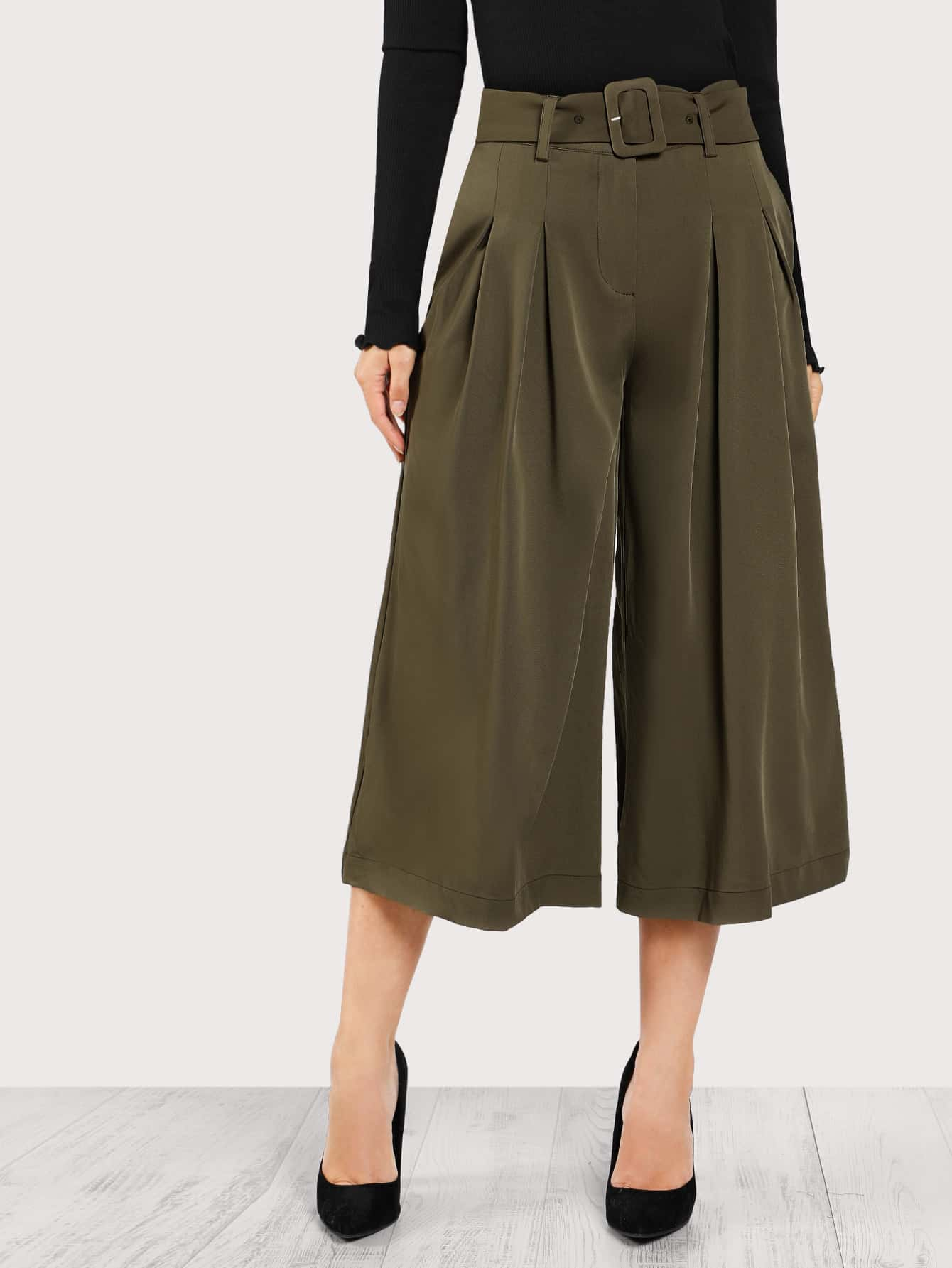 Image of Belt Detail Box Pleated Super Wide Leg Pants