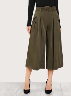Belt Detail Box Pleated Super Wide Leg Pants