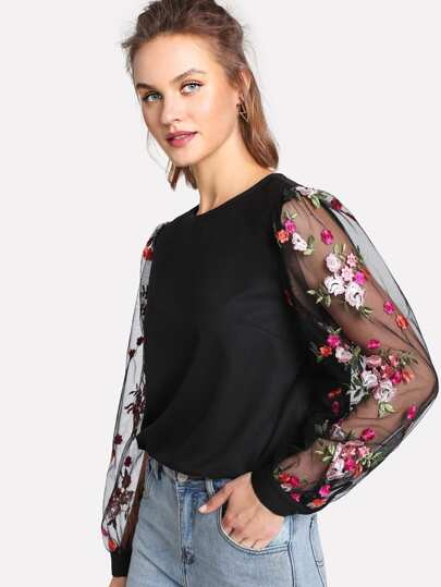 Flower Embroidery Mesh Sleeve Keyhole Back Blouse