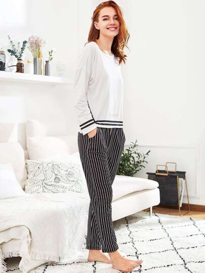 Slit Detail Striped Long Pajama Set