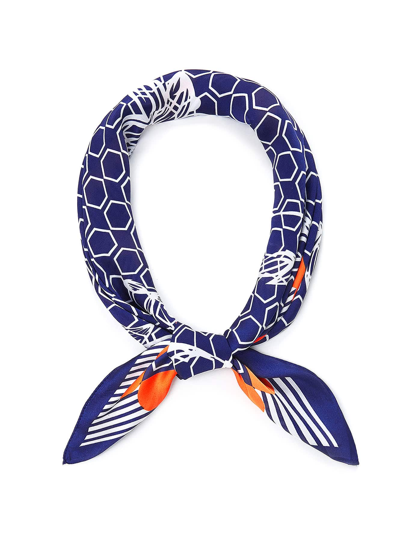 Geometric Pattern Bandana Scarf color block geometric bandana scarf