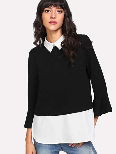 Contrast Collar And Hem Flounce Sleeve Top
