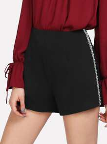 Pearl Beaded Side Zip Back Shorts