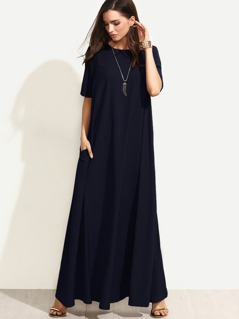 Zipper Back Full Length Swing Tee Dress