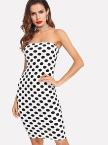 Polka Dot Print Bandeau Dress