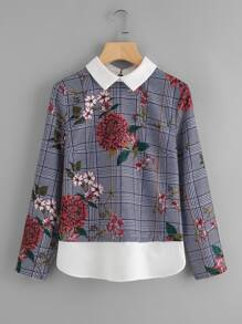 Contrast Collar And Hem Floral Plaid Top