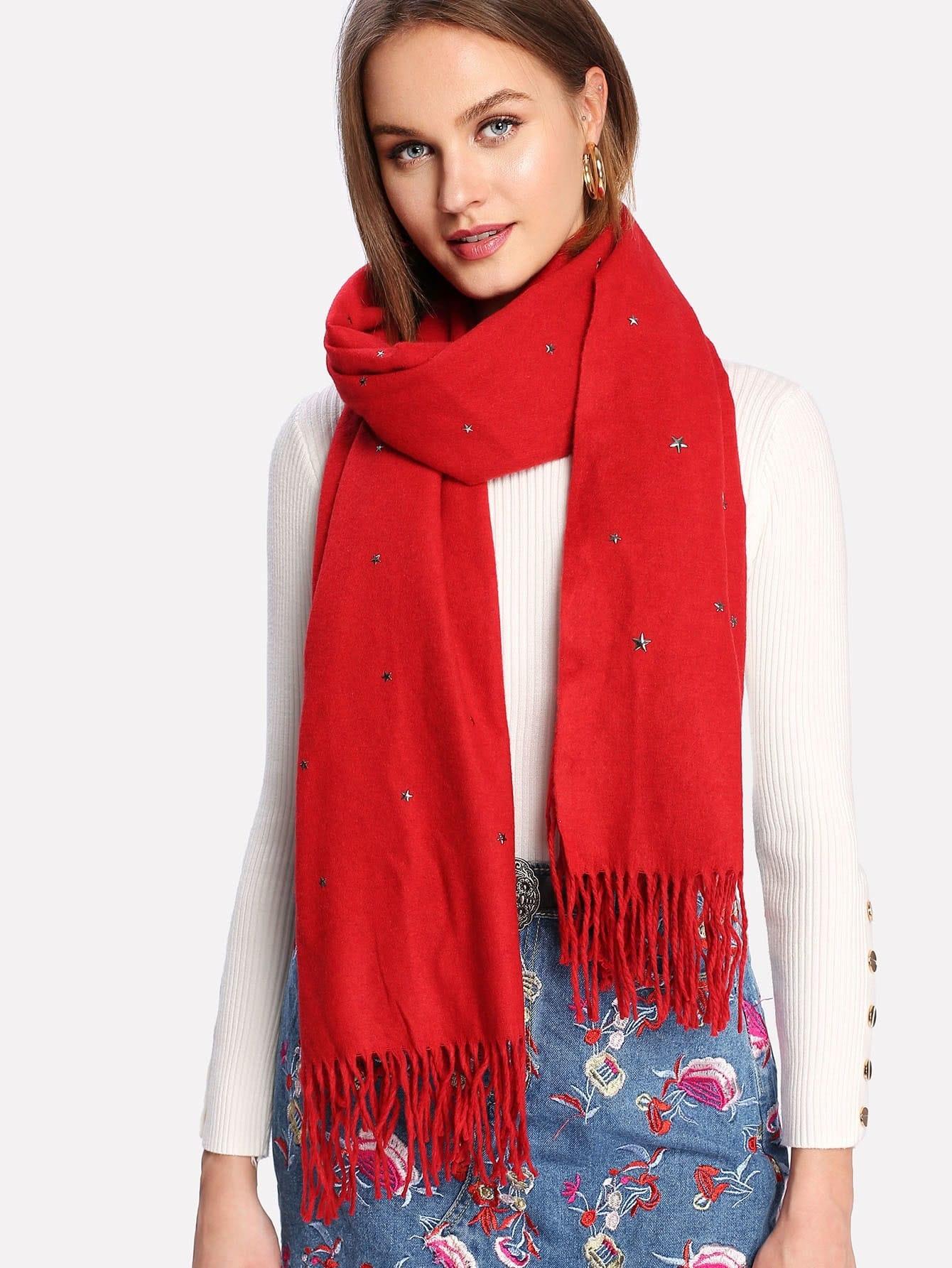 Fringe Trim Star Scarf mini star print fringe tassel scarf