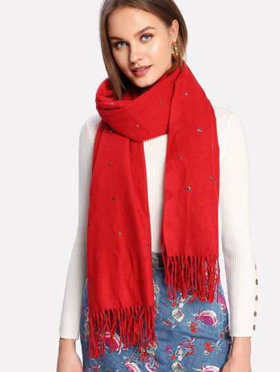 Fringe Trim Star Scarf
