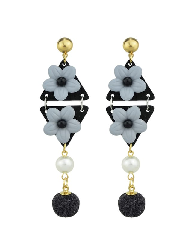 Black Simulated-Pearl Colorful Flower Dangle Earrings