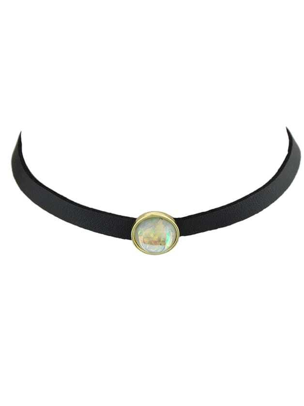 White Choker Necklace With White Black Beads Gothic Jewelry gothic blue