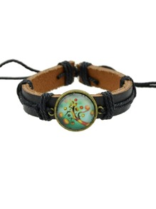 Peach Hiphop Jewelry Rock Style Pu Leather Bracelets