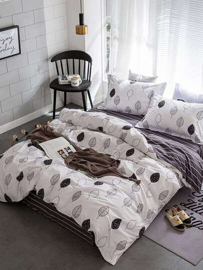 2.0m 4Pcs Leaf Print Duvet Cover Set