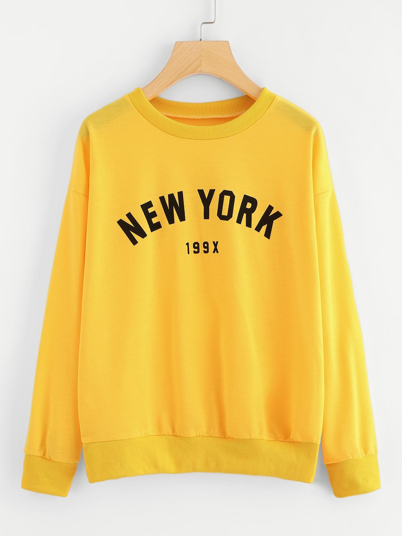 Letter Print Drop Shoulder Pullover letter print drop shoulder sweatshirt