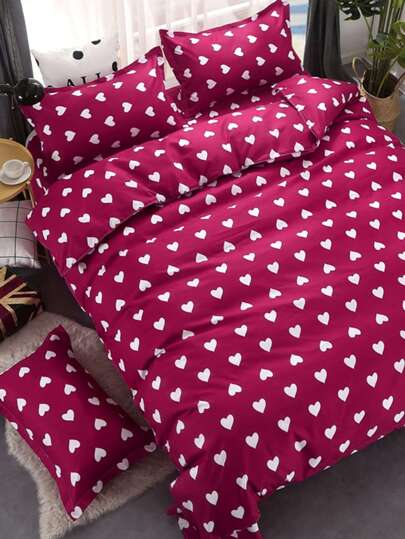 1.8m 4Pcs Heart Print Duvet Cover Set