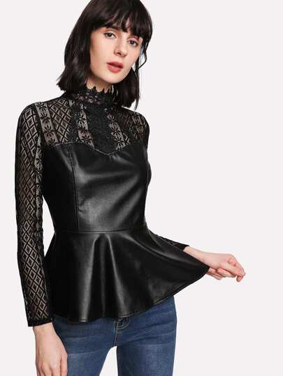 Lace Panel PU Top