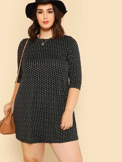 Polka Dot Print Flowy Dress