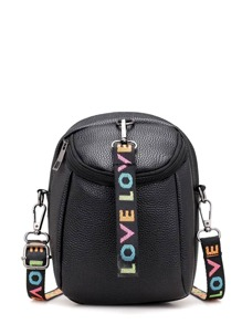 Pebble Crossbody Bag With Slogan Strap