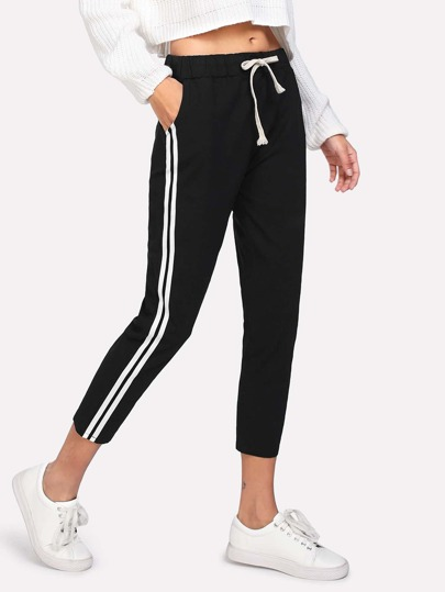 Contrast Striped Side Drawstring Waist Pants