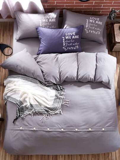 1.5m 4Pcs Letter Print Button Bed Sheet Set