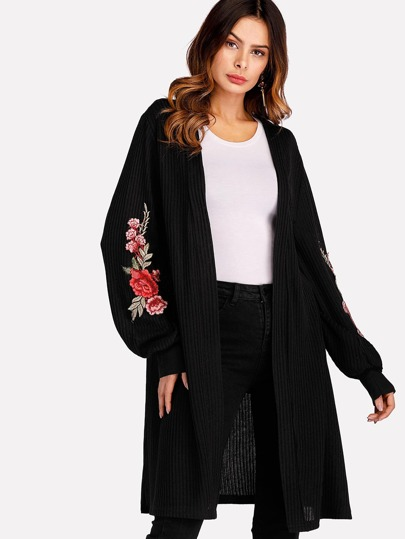 Rose Embroidered Balloon Sleeve Cardigan