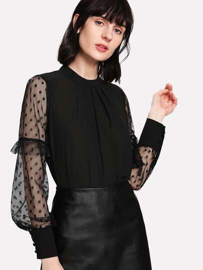 Sheer Mesh Sleeve Polka Dot Top