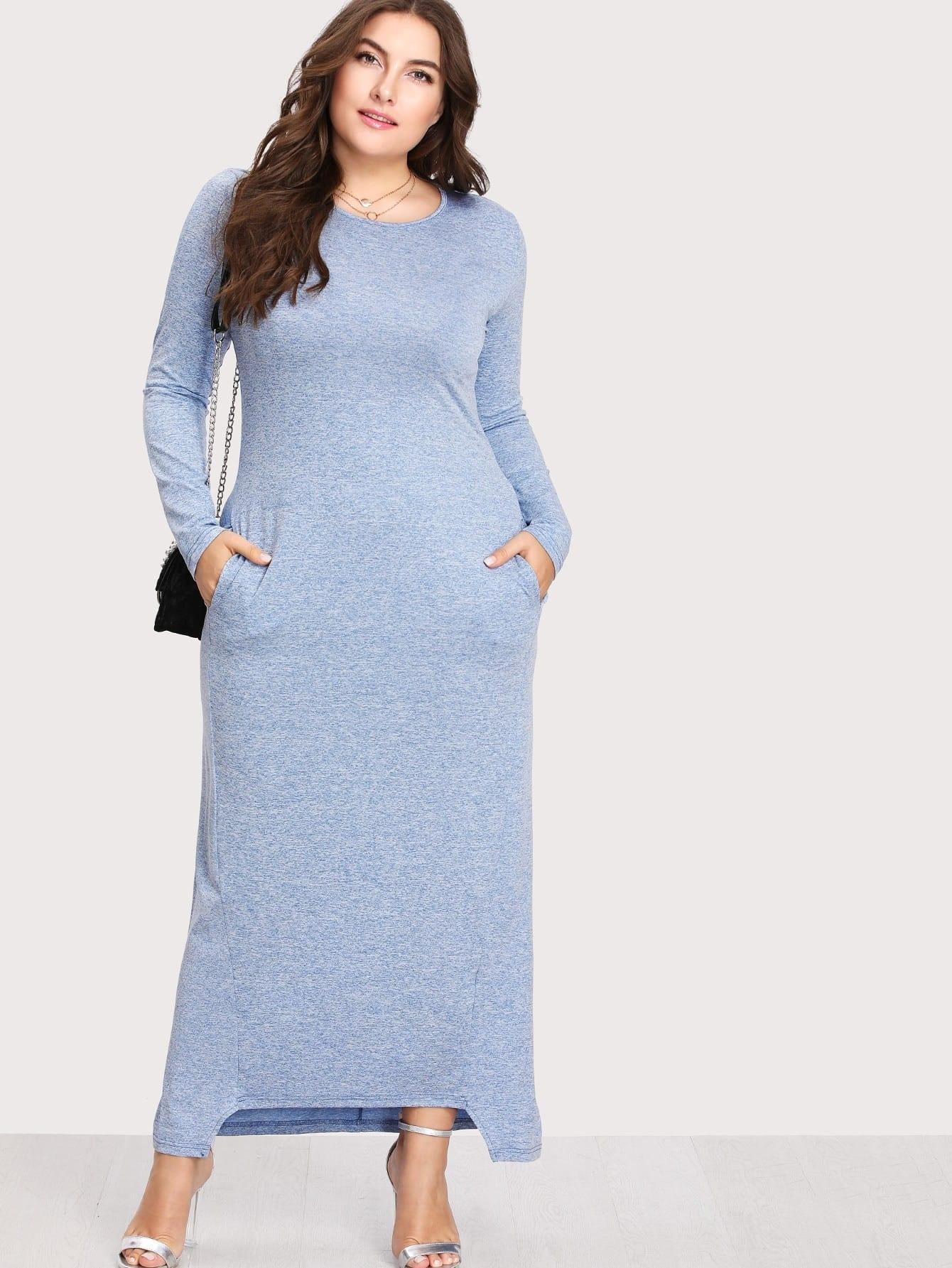 Plus Dual Pocket Dip Hem Dress