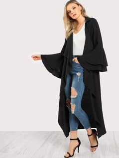 Notch Collar Ruffle Sleeve Longline Coat