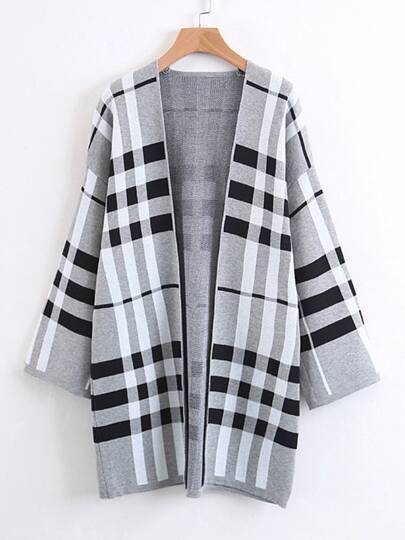 Open Front Longline Plaid Cardigan