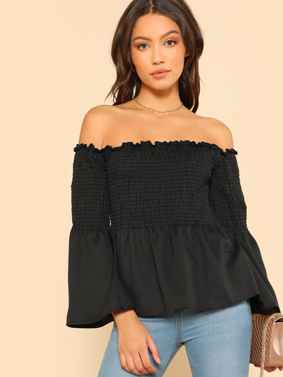 Trumpet Sleeve Smocked Bardot Top