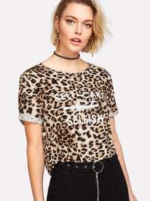 Cuffed Sleeve Leopard T-shirt