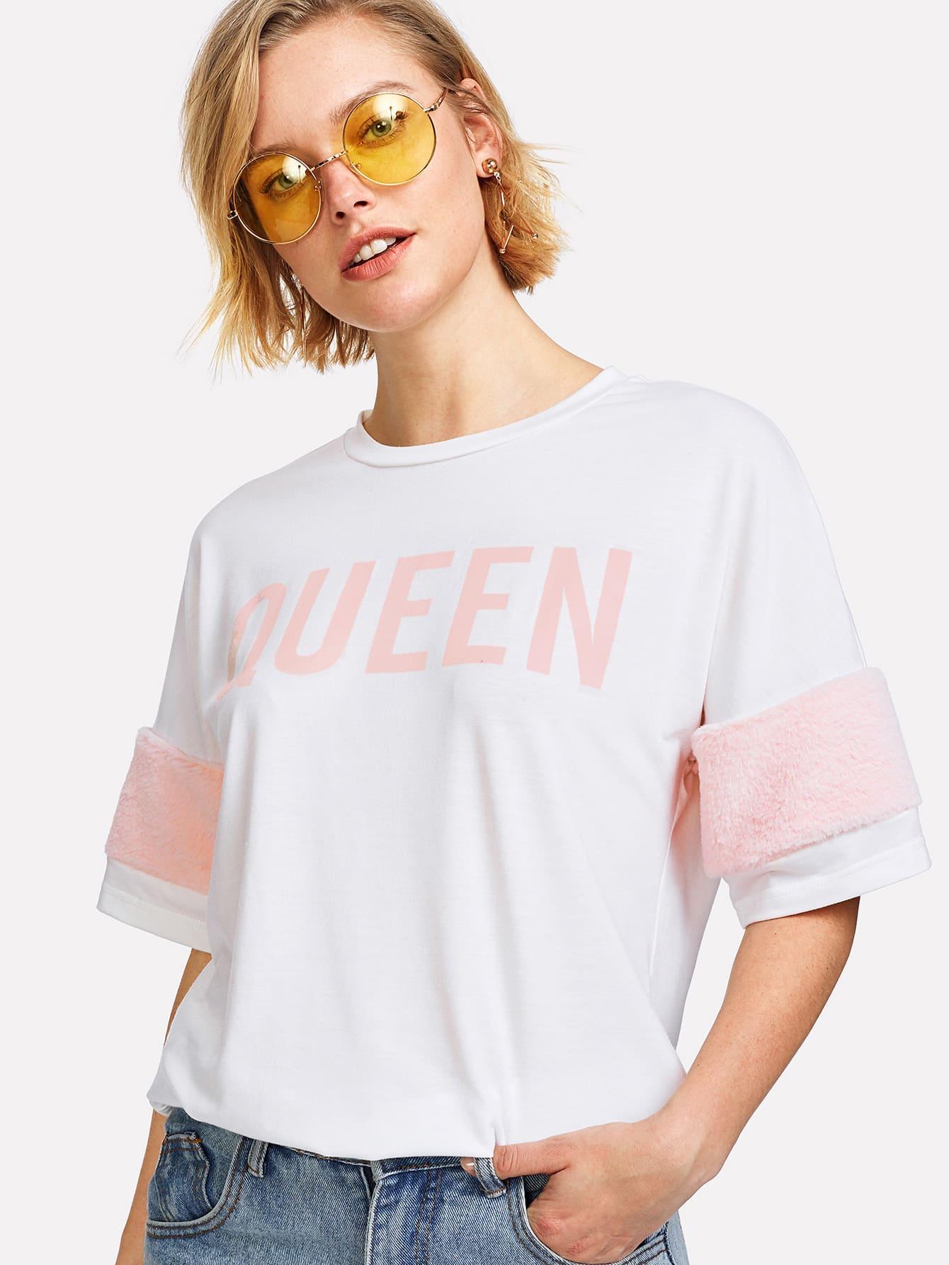 Купить Модная футболка с текстовым принтом, Michelle, SheIn