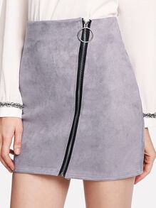 Suede Zip Up Front Skirt