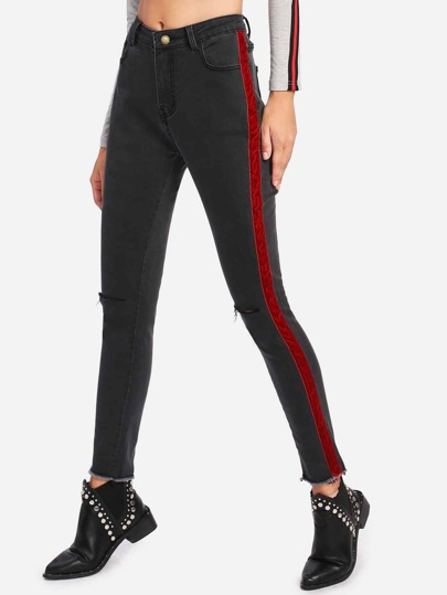 Knee Rips Stripe Contrast Raw Hem Jeans