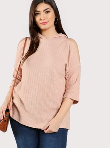 Open Shoulder Textured Hooded Knit Top