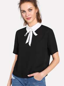 Contrast Collar Keyhole Back Blouse