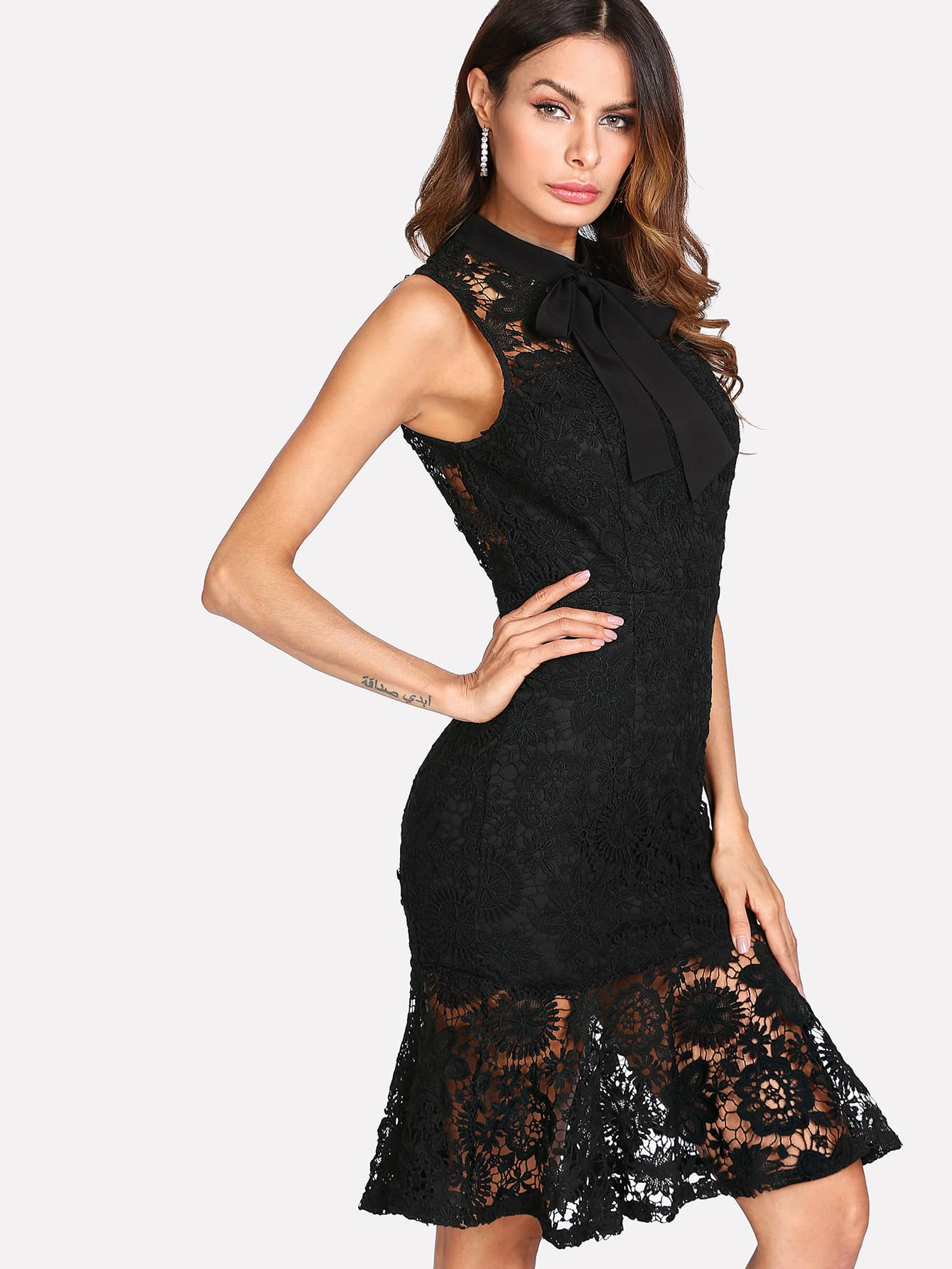 Floral Lace Overlay Tied Neck Ruffle Hem Dress ruffle hem grid dress with tied strap