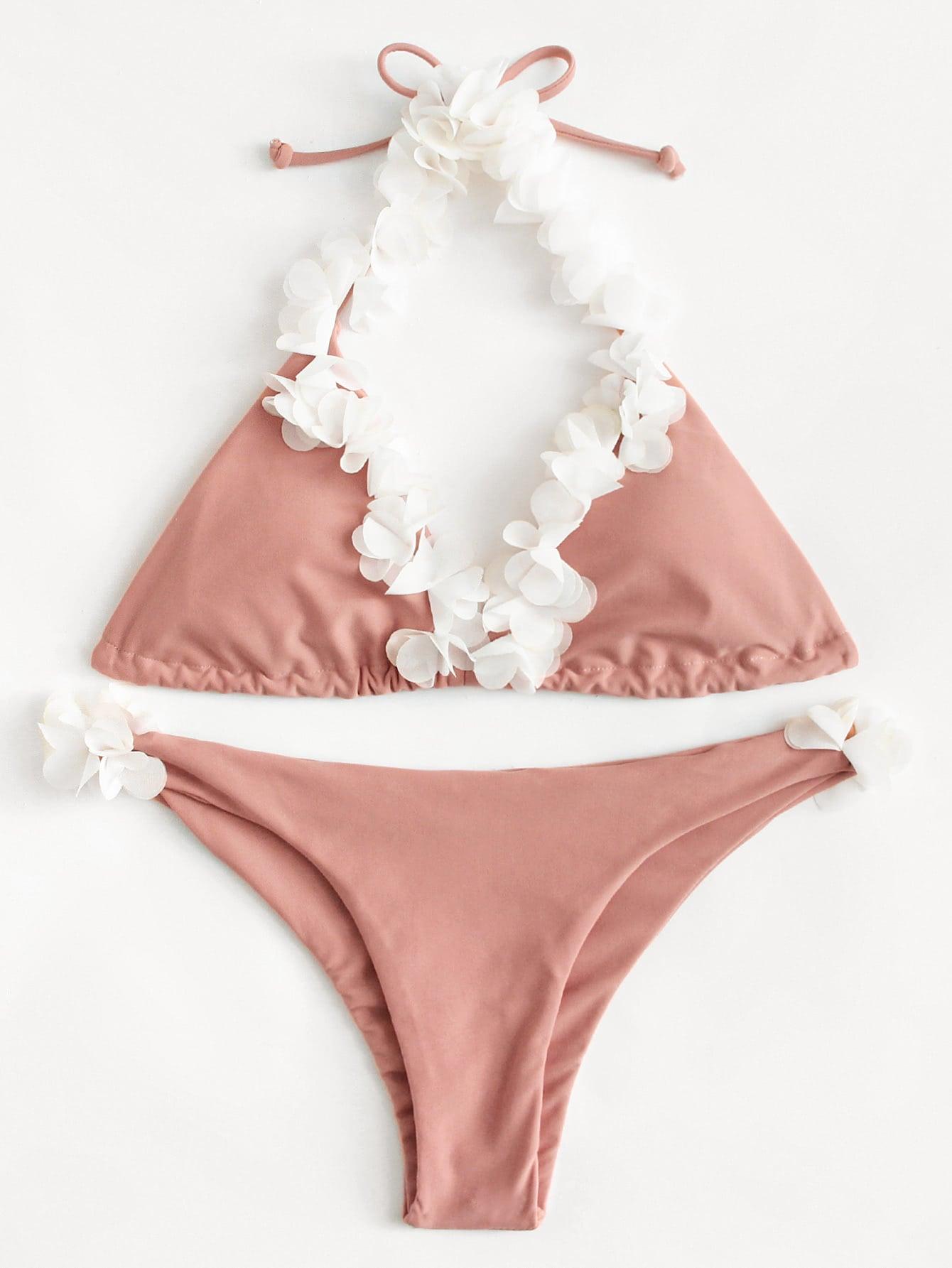 Flower Decorated Bikini Set swimwear171215305