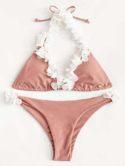 Flower Decorated Bikini Set