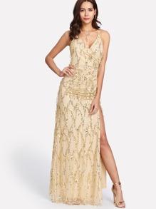 Crisscross Back High Slit Sequin Dress