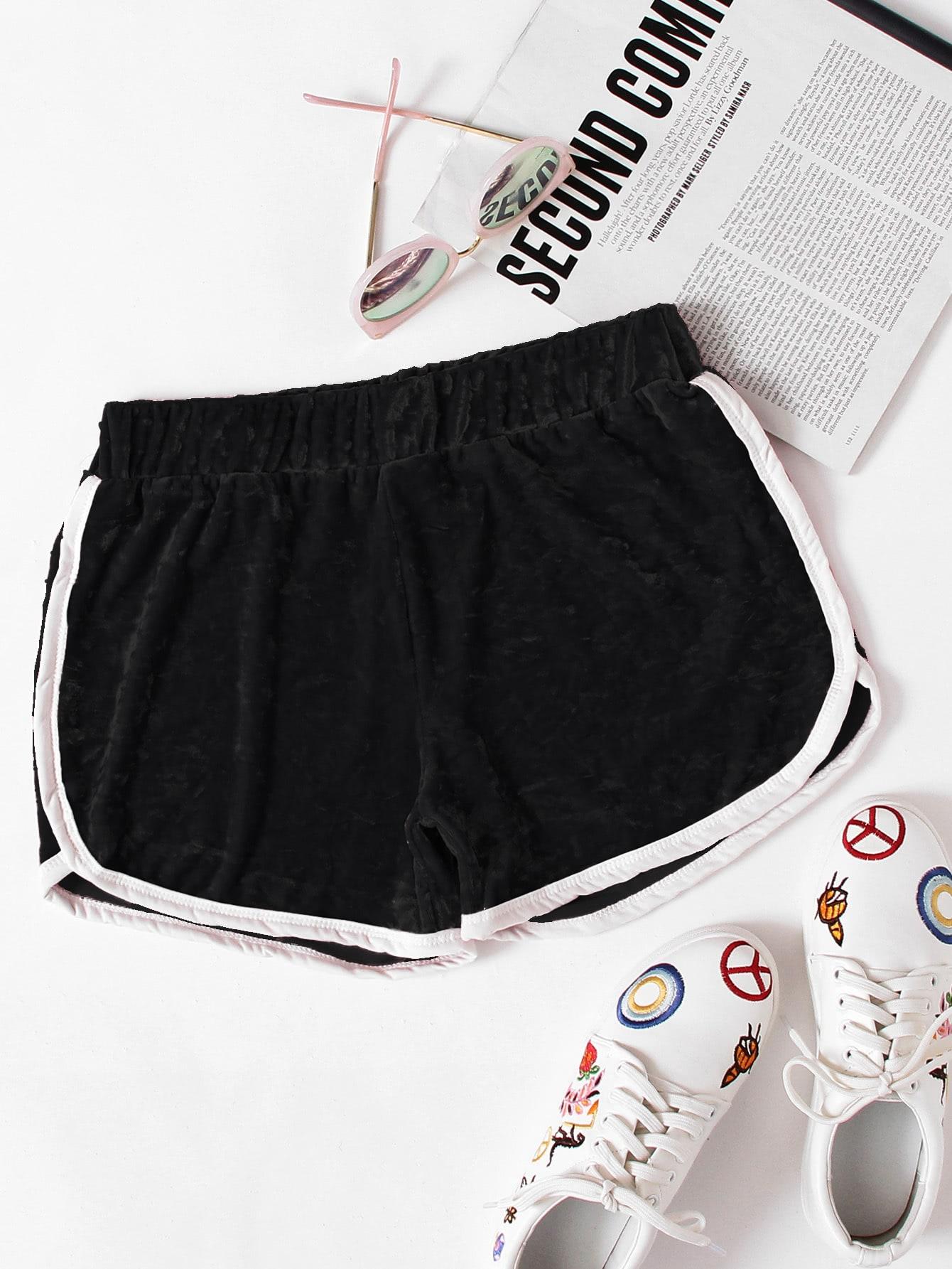 все цены на Contrast Trim Elastic Waist Velvet Shorts