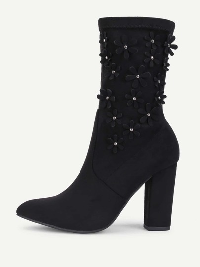 Flower Decorated Block Heeled Suede Boots